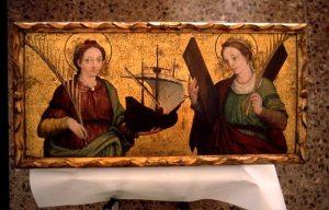 Retaule català del s. XVI, amb les santes Madrona (esquerra) i Eulàlia.