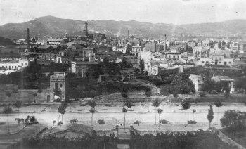 Vista parcial de sants des de Montjuïc, finals segle XIX